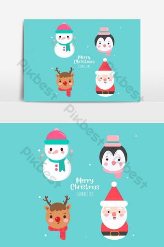 personajes de navidad colección de vectores lindo santa claus kawaii muñeco de nieve elemento gráfico vectorial Elementos graficos Modelo AI