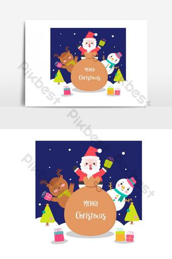 paquete de personaje navideño lindo santa claus dibujos animados kawaii muñeco de nieve elemento gráfico vectorial Elementos graficos Modelo AI