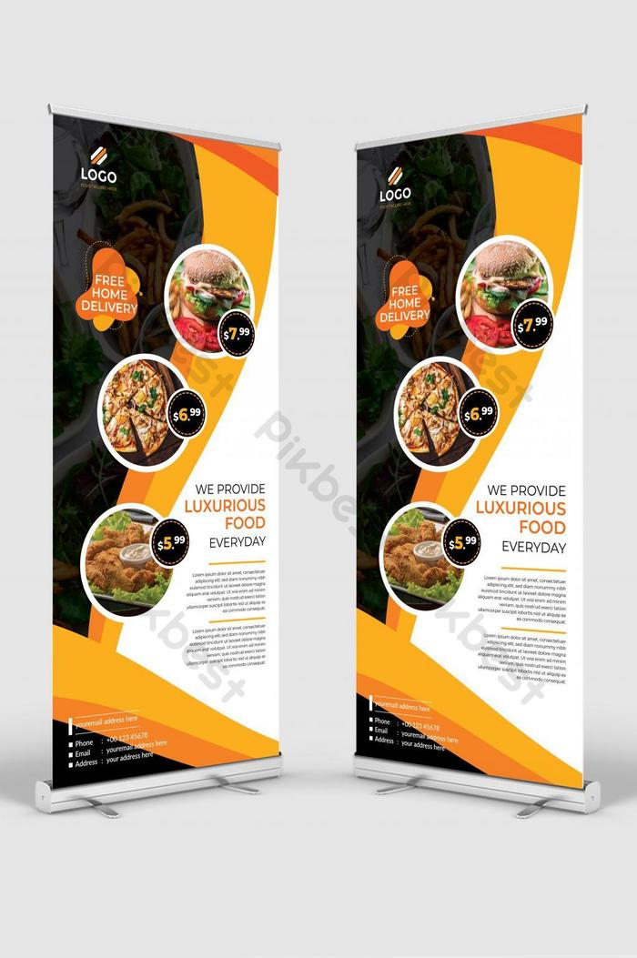 Simple And Modern Restaurant Roll Up Banner Design Orange Color Signage Standee Ai Free Download Pikbest