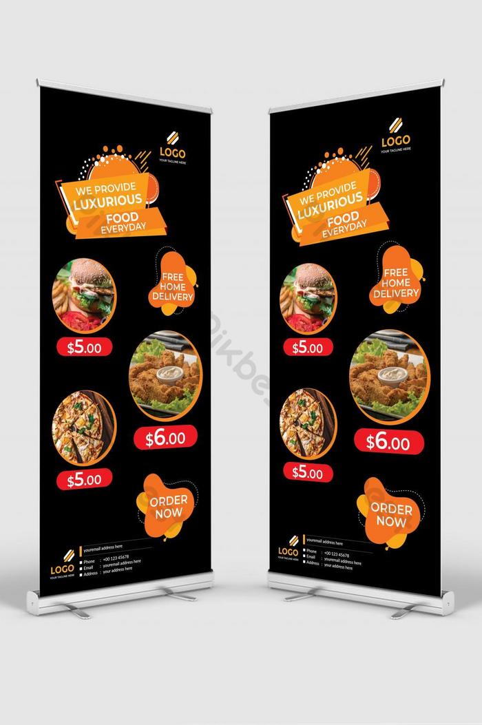 Yellow And Black Modern Restaurant Roll Up Banner Design Signage Standee Ai Free Download Pikbest