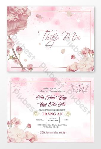 دعوة زفاف بطاقة دعوة جميلة قالب بطاقة يوم زفاف سعيد تصميم مثير للإعجاب قالب AI