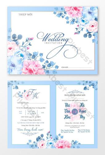 تصميم بطاقة دعوة الزفاف دعوة زفاف سعيدة قالب بطاقة دعوة جميلة قالب AI
