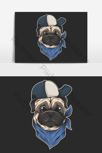 elemento gráfico de vector de sombrero de perro pug y bandana Elementos graficos Modelo EPS