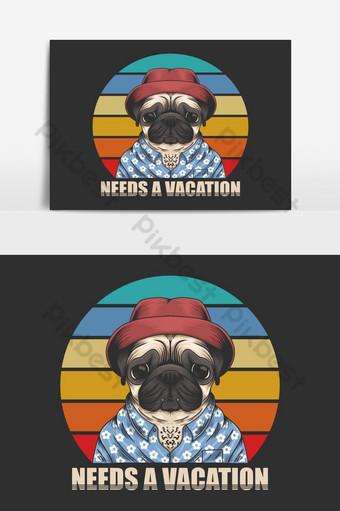 perro pug necesita elemento gráfico de vector de vacaciones Elementos graficos Modelo EPS