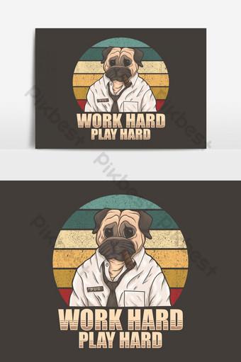 perro pug trabajar duro jugar duro elemento gráfico vectorial Elementos graficos Modelo EPS