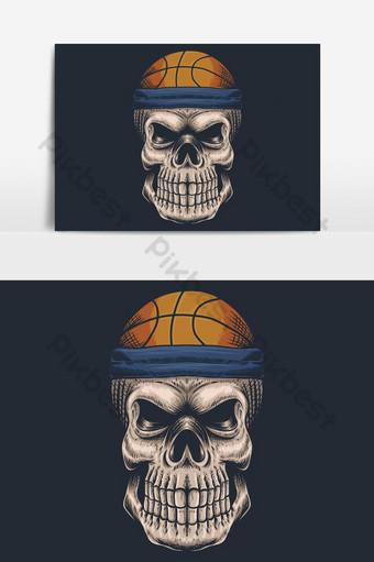 elemento gráfico de vector de baloncesto de calavera Elementos graficos Modelo EPS