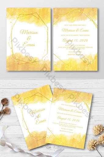 Modèle d'invitation de mariage aquarelle avec carte d'invitation cadre doré Modèle AI