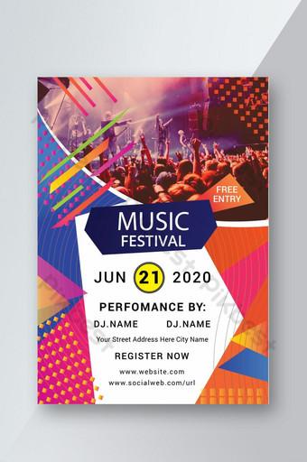 Flyer de modèles de flyers de festival de musique jazz Modèle AI