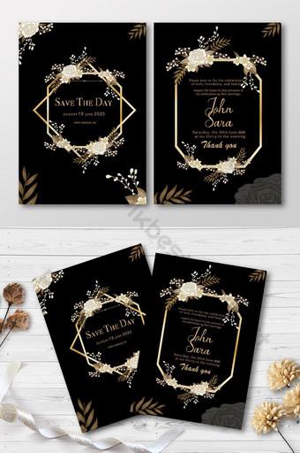Carte d'invitation de style floral de mariage élégant Modèle AI