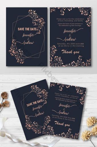 Belle carte d'invitation de mariage de style doré Modèle AI