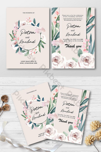Carte d'invitation de mariage de style floral Modèle AI