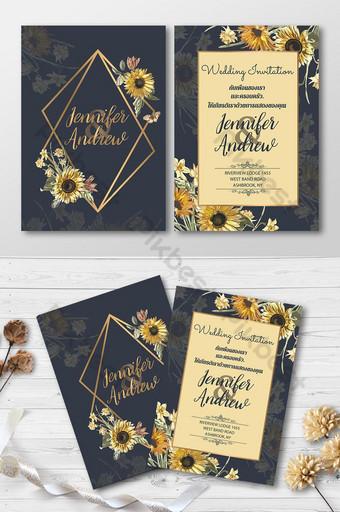 Carte d'invitation de mariage de belles fleurs de soleil Modèle AI