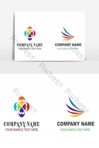 elemento gráfico de vector de flor colorida diseño de logotipo de empresa creativa Elementos graficos Modelo AI
