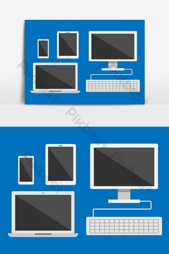 Conjunto de vectores de dispositivos electrónicos aislado sobre fondo azul. Elementos graficos Modelo AI