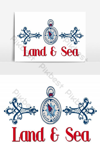 Land and sea logo Vector Graphic Element PNG Images Template AI