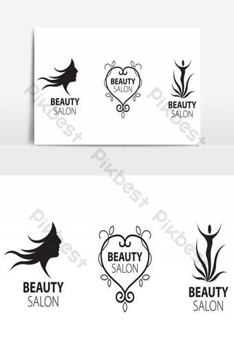 elemento gráfico de vector de paquete de logotipo de salón de belleza Elementos graficos Modelo AI