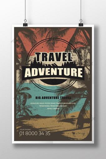 plantilla de cartel de venta de propaganda de aventura de viaje de destrucción retro de los 80 Modelo PSD