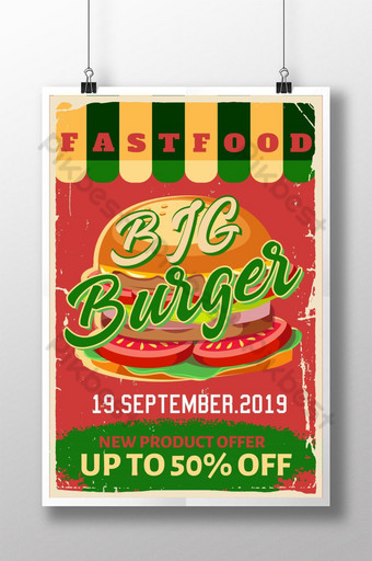 cartel retro de comida rápida hamburguesa Modelo PSD