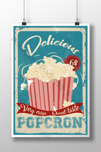 cartel retro de bocadillos de palomitas de maíz Modelo PSD