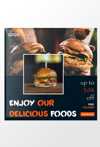 diseño de anuncios de redes sociales de comida sana de hamburguesa Modelo AI