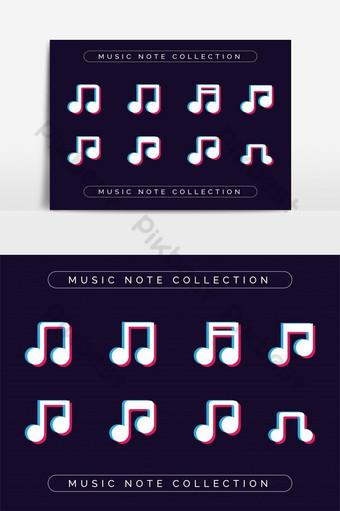 colección de iconos de notas musicales para elemento gráfico de vector de diseñador creativo Elementos graficos Modelo EPS