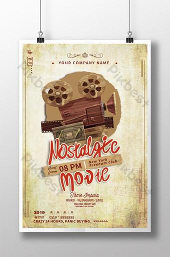 poster proyektor film nostalgia retro vintage Templat PSD