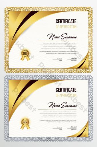 Nowoczesny kreatywny certyfikat uznania szablon projektu certyfikatu Szablon AI