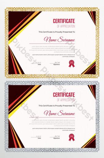 certificado creativo moderno de plantilla de diseño de certificado de apreciación Modelo AI