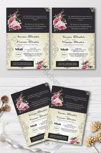 Invitation de mariage de carte d'invitation pour le mariage floral d'or Modèle PSD