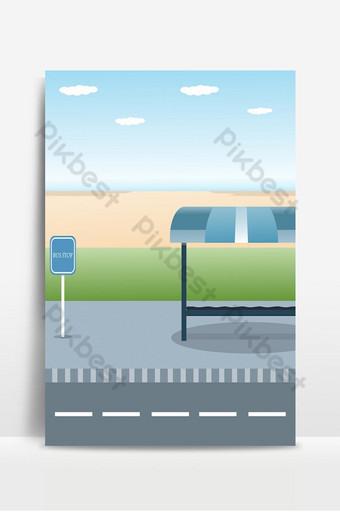 Diseño de la parada de autobús con vista al mar, playa, plano, vector, ilustración, fondo Fondos Modelo EPS