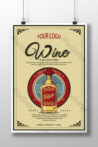 cartel de vino tinto vintage retro Modelo PSD