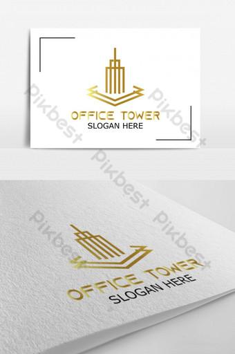 logotipo de vector de torre de oficina para logotipo de identidad corporativa Modelo AI