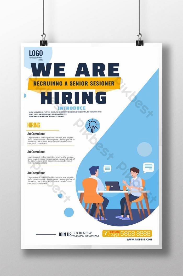 cartaz de recrutamento moderno e minimalista