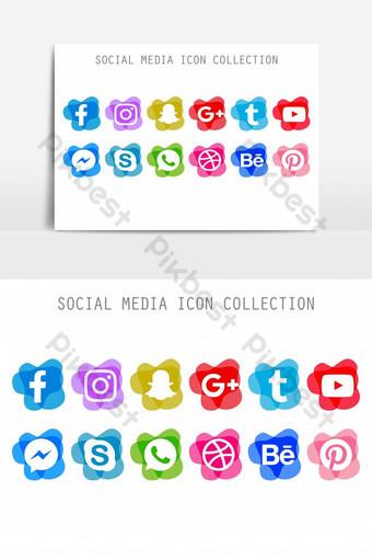 elegante paquete creativo de iconos de redes sociales para elemento gráfico de vector de diseñador Elementos graficos Modelo AI