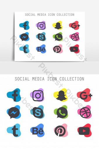 elemento gráfico de vector de colección de iconos de redes sociales modernas abstractas Elementos graficos Modelo EPS