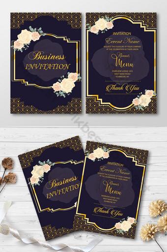 Conception de cartes florales d'invitation d'affaires Modèle AI