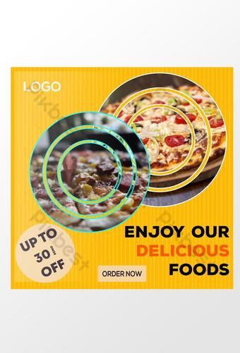Diseño de plantilla de publicación de anuncios de redes sociales de comida deliciosa Modelo PSD