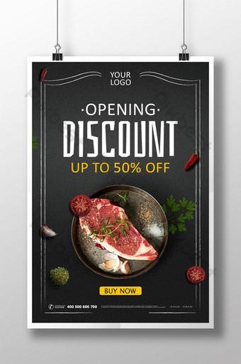 Mẫu poster quảng cáo khai trương nhà hàng đen dành cho người sành ăn bítết Bản mẫu PSD