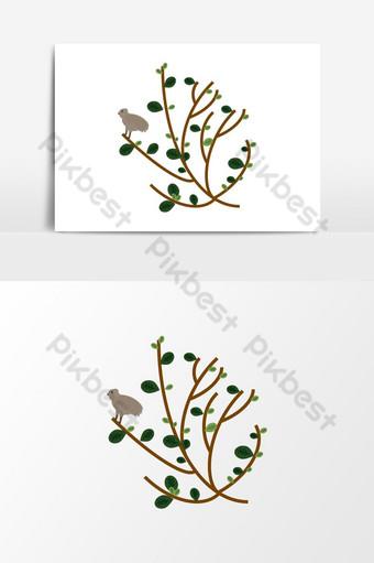 pájaro árbol hoja flor verde marrón natural naturaleza vector elemento gráfico Elementos graficos Modelo AI
