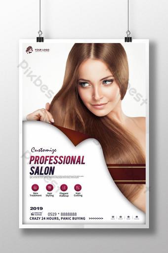 Prosty plakat do stylizacji włosów mody Szablon PSD