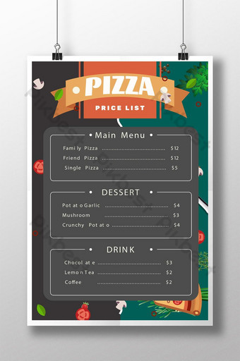 plantilla de promoción de menú de lista de precios de pizza gourmet Modelo PSD
