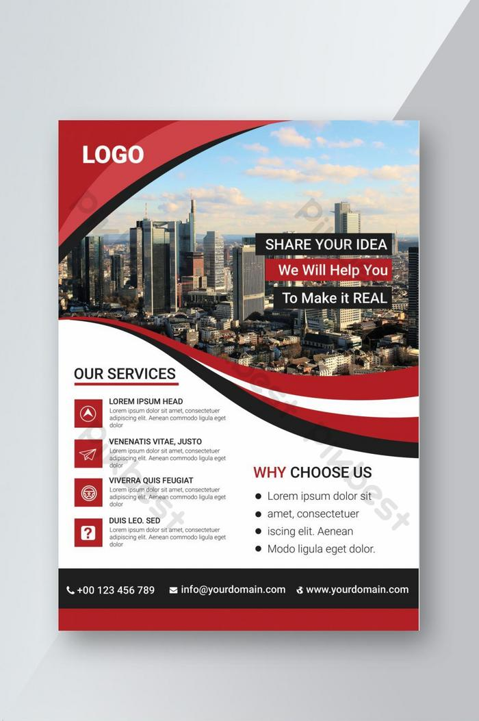 design de folheto psd vermelho corporativo totalmente editável e de fácil personalização