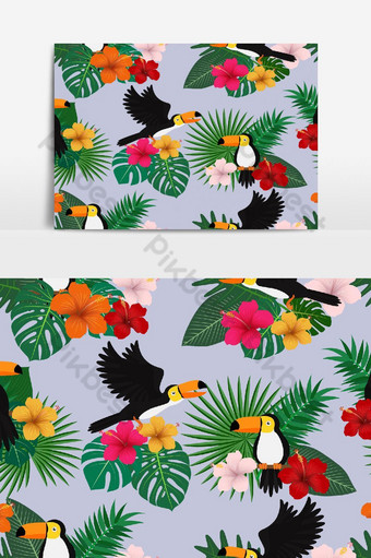 熱帶花卉與葉子和巨嘴鳥鳥在自然矢量圖形元素上的無縫模式 元素 模板 AI