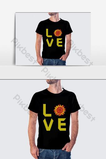 Plantillas de gráficos vectoriales de diseño de camisetas de amor Elementos graficos Modelo AI