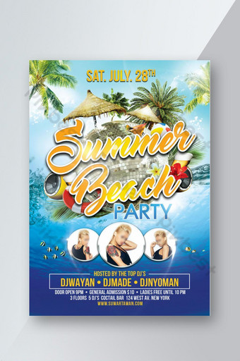 fiesta de verano en la playa Modelo PSD
