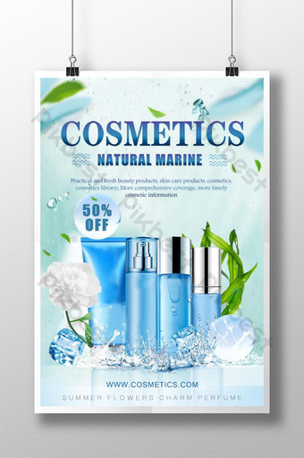 poster quảng cáo mỹ phẩmàu xanh Bản mẫu PSD