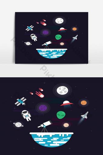 flaticon علم الفلك في الفضاء التلسكوب كوكب سفينة الفضاء الأقمار الصناعية الخ صور PNG قالب EPS