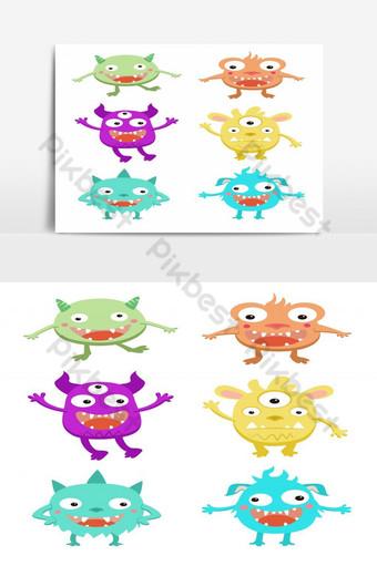 مجموعة من الوحوش الملونة الكرتون معزولة على خلفية بيضاء صور PNG قالب EPS