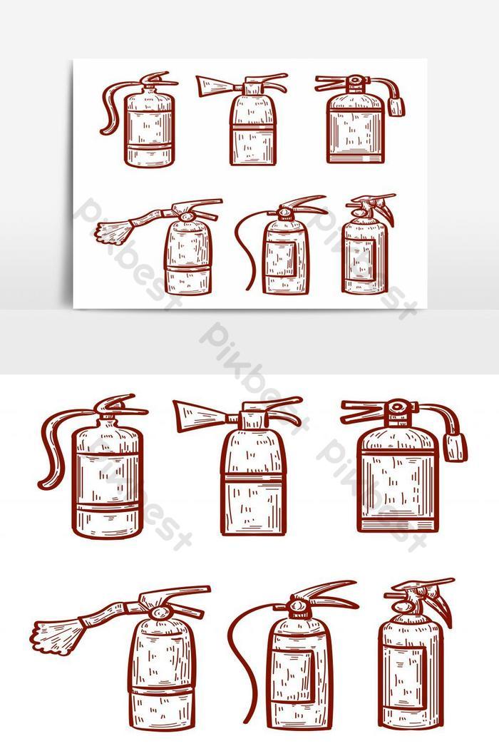 Набор рисованной огнетушитель, изолированные на белом фоне