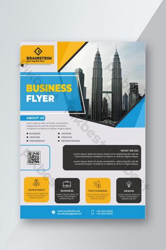 Modèle de vecteur de conception de flyer élégant créatif immobilier coloré d'entreprise en ligne Modèle PSD
